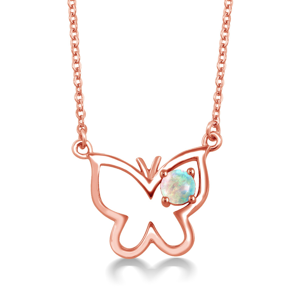 0.25 Ct Round Cabochon White Simulated Opal 18K Rose Gold Plated Silver Necklace by