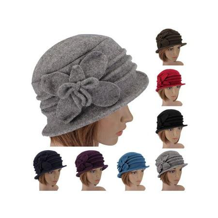 Meigar Lady Women Butterfly Bowknot Wool Felt Bucket Hat Foldable Cloche Cap Boonie