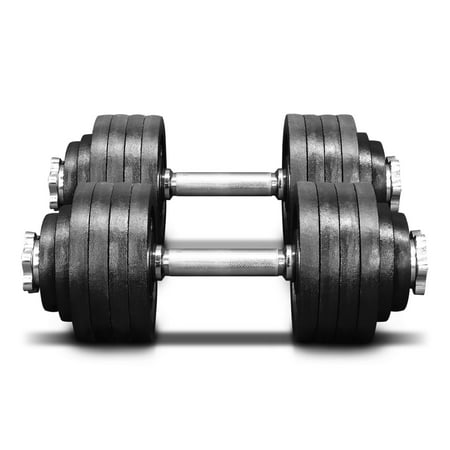 Yes4All 105 lb Adjustable Dumbbell Weight Set - Cast Iron Dumbbell (a Pair) 40lbs -