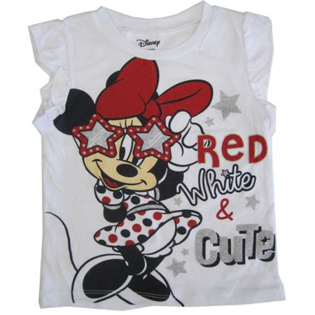 Little Girls White Red Minnie Glitter Print Flutter Sleeve Top 2-4T - Girls Glitter Toms