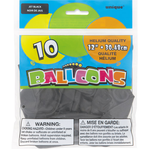 "12"" Black Balloons, 10ct"