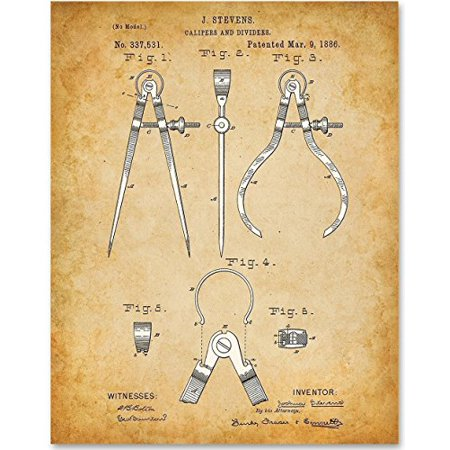 Architect Gift - Calipers and Dividers - 11x14 Unframed Patent Print - Great Gift for Architects, Engineers and Designers