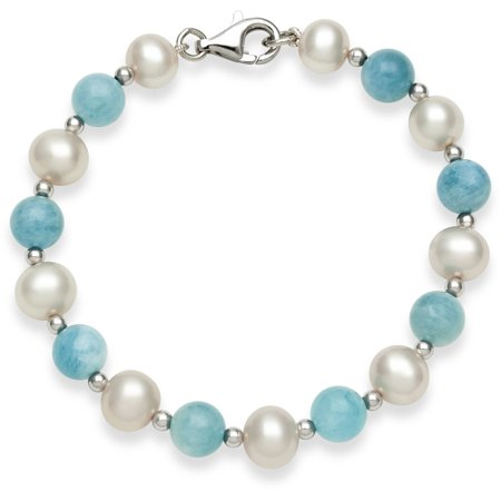 (Genuine Cultured Freshwater Pearl and Natural Milky Aquamarine Sterling Silver Strand Bracelet, 7.5