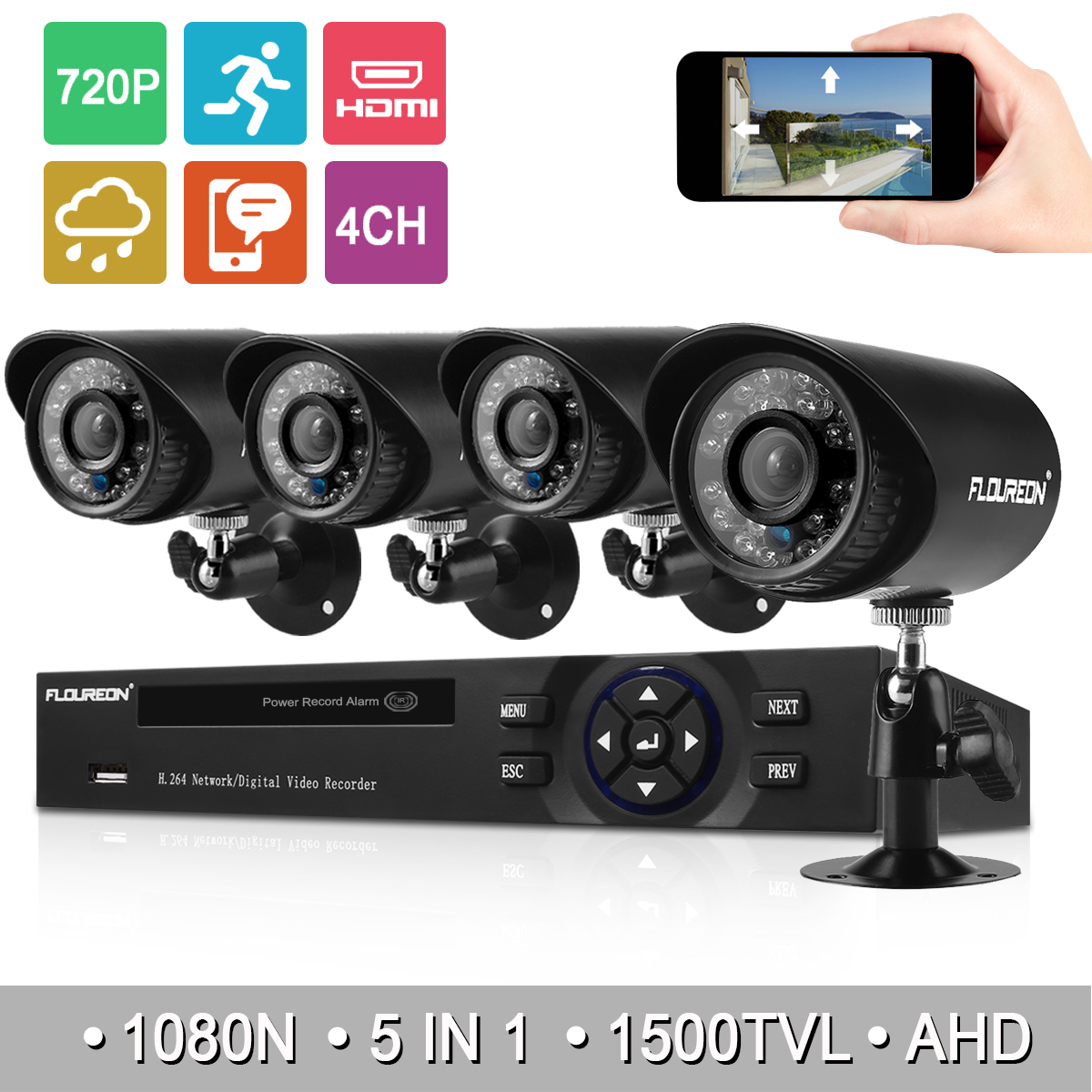 4CH 1080N AHD DVR+4X Outdoor CCTV 1500TVL 720P 1.0MP Camera Security System Kit