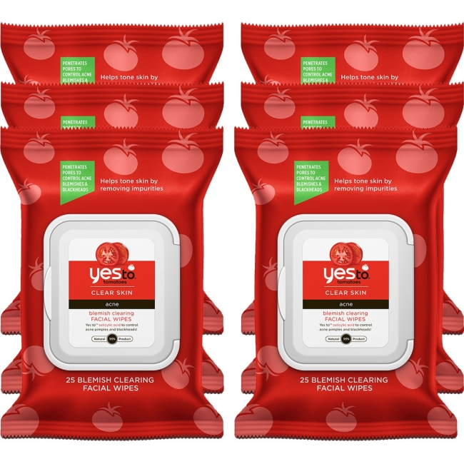 Yes To Tomatoes Blemish Clearing Facial Wipes, 25 Count Pack of 6 - Oil-free, Petroleum Free, Paraben-free, Sodium Laury