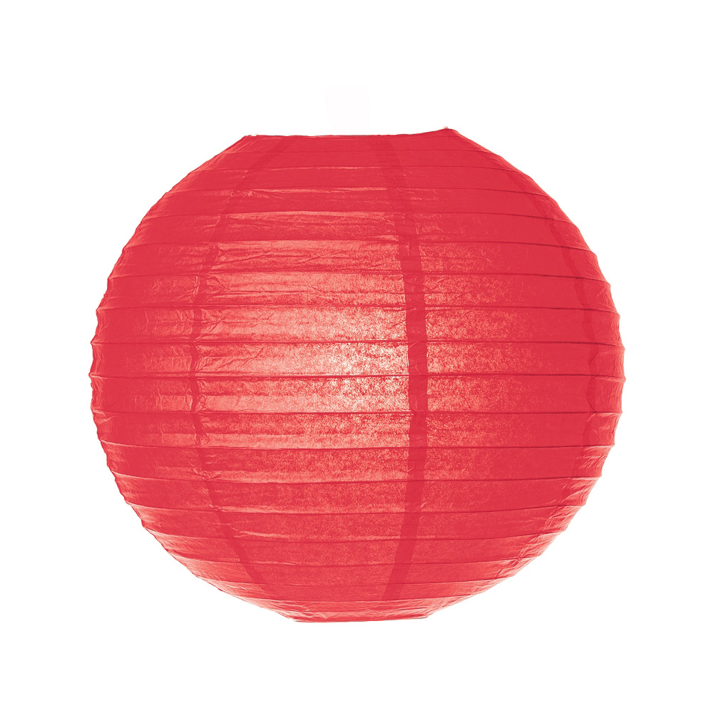 Luna Bazaar Paper Lantern (16-Inch, Parallel Style Ribbed, Red) - Rice Paper Chinese/Japanese Hanging Decoration - For Home Decor, Parties, and Weddings
