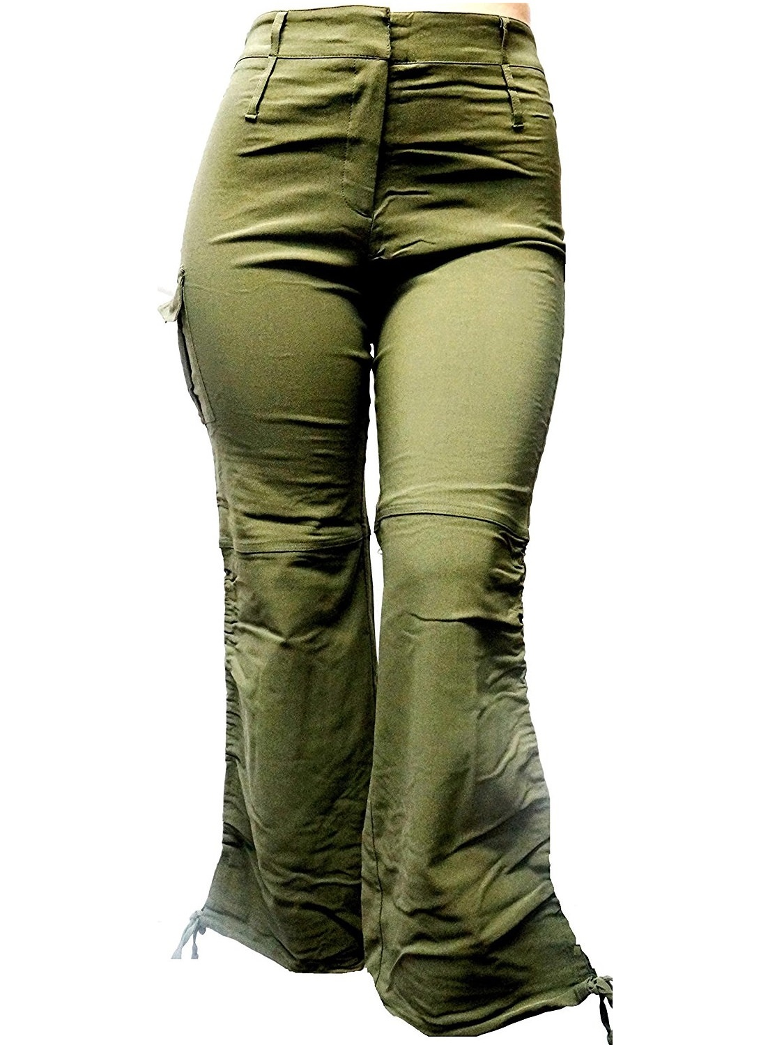 JEANS FOR LOVE Jack David Women's Plus Size Drawstring Relaxed Fit High-Waist Full Length Cargo Pants