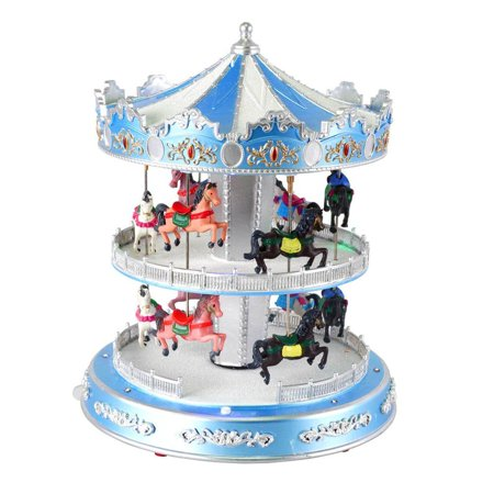 Home Accents Holiday LED Musical Revolving Carousel 2 Tiers with Horses Plays 8 Songs
