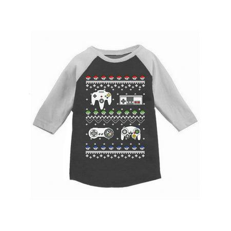 Awkward Styles Boys Girls Ugly Christmas T-Shirt Gamer Xmas Raglan Shirt Kids Gamer Girl T-shirt