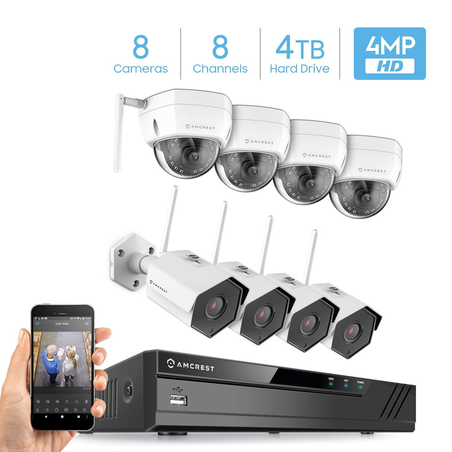 Amcrest 8CH 4MP Security Camera System w/ 4K NVR, (8) x 4-Megapixel IP67 Weatherproof Bullet & Dome WiFi IP Cameras, 3.6mm Angle Lens, Pre-Installed 4TB Hard Drive, 98ft Night Vision (White)