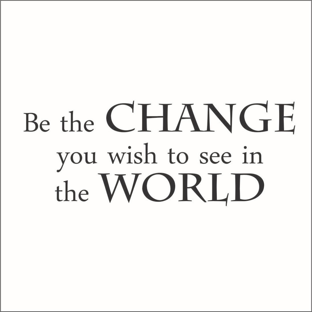 Be the Change You Wish to See in the World Vinyl Quote - Large