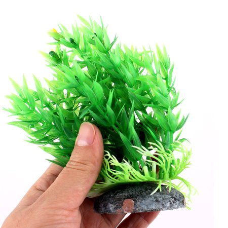 Green Plastic Ceramic Base Aquarium Plant Aquatic Grass for Fishbowl Fish Tank - image 2 de 3