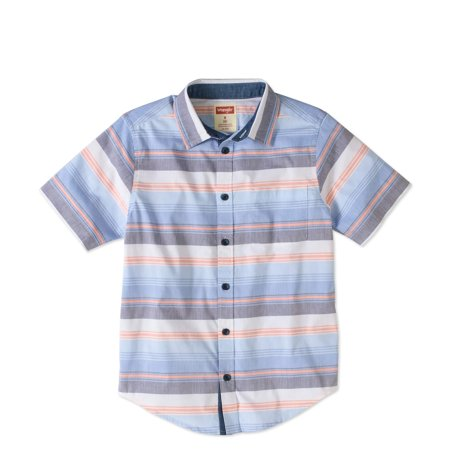 Boys' Short Sleeve Plaid Button Up Top