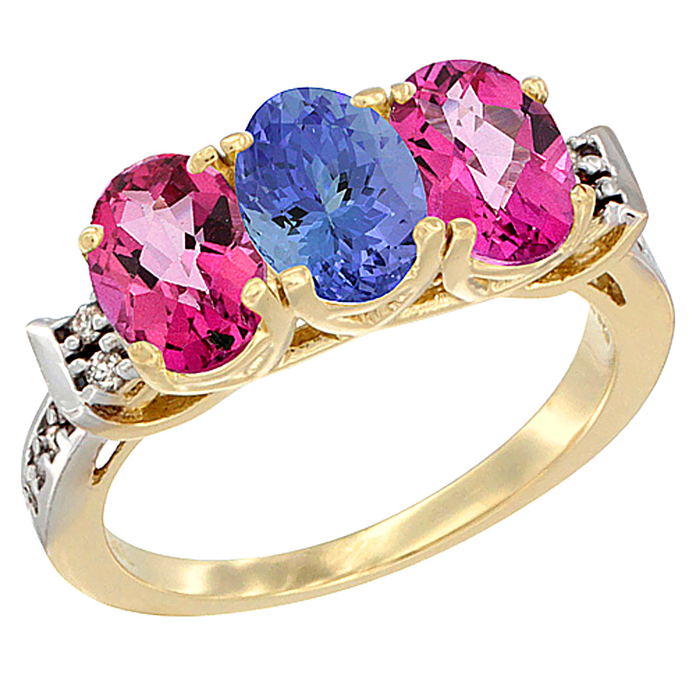 10K Yellow Gold Natural Tanzanite & Pink Topaz Sides Ring 3-Stone Oval 7x5 mm Diamond Accent, sizes 5 10 by Tanzanite Pins