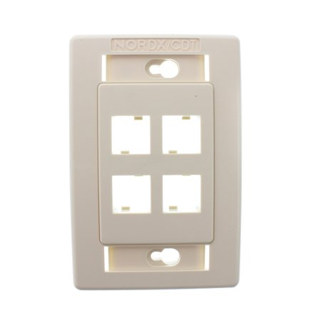 Belden AX101436 Flush Mount Network Faceplate, 4 Port, Mdvo, Almond