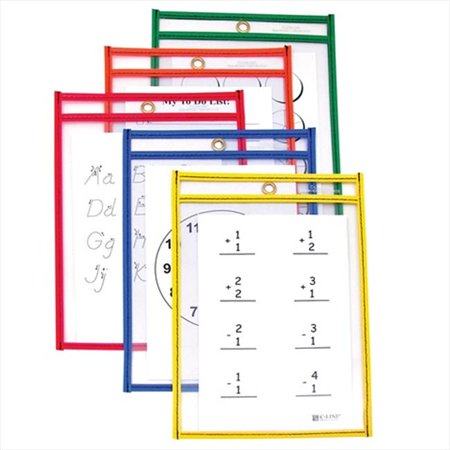 C-Line Products 41610BNDL2PK Reusable Dry Erase Pockets  Assorted Primary Colors  6 x 9  10-PK - Set of 2 PK](Dry Erase Pockets)