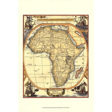 Small Nautical Map Of Africa Poster Print (13 x (Map Africa Colour)