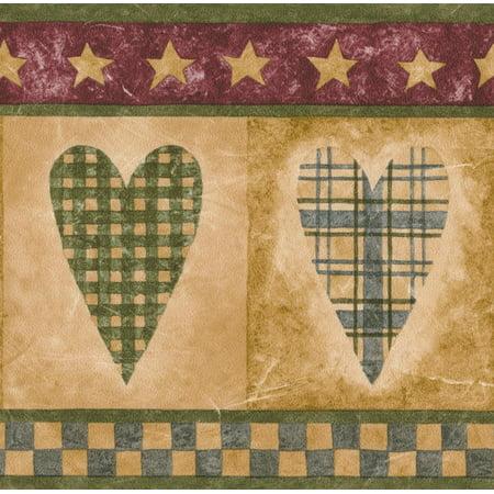 Checkered Hearts in Squares Beige Kitchen Bathroom Wallpaper Border Retro Design, Roll 15