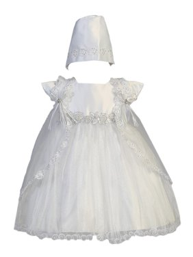 fae363a3eefa Product Image Baby Girls White Sparkled Tulle Cape Bonnet Christening Dress