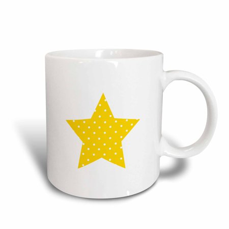 3dRose Yellow polka dot Star shape - cute yellow and white dotty pattern, Ceramic Mug, 11-ounce](White Polka Dots)