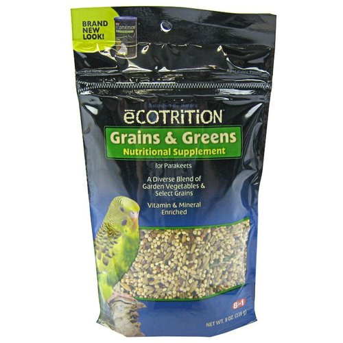 Ecotrition Grains and Greens Nutritional Supplement for Parakeets 8 Ounce