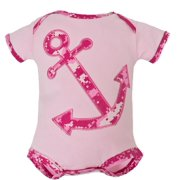 United States Navy Anchor Pink Camo Baby Bodysuit 0-3M