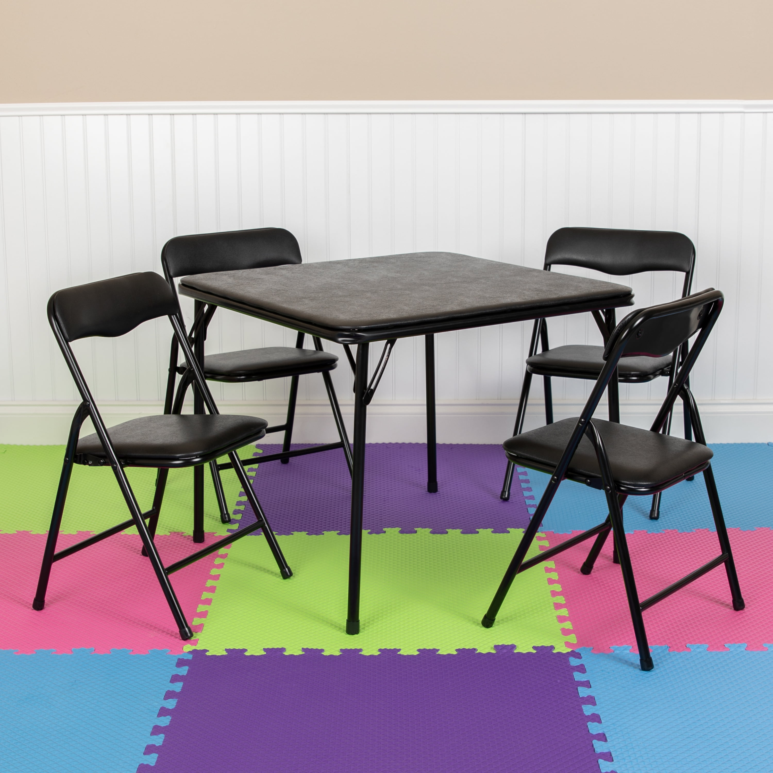 - Flash Furniture Kids Black 5 Piece Folding Table And Chair Set