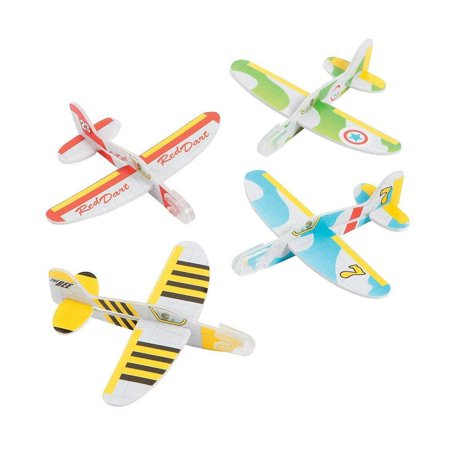 "Mini Foam Glider Plane - 4"" X 3.5"" – 24 Pack – Assorted Colors And Designs Foam Airplane Flying Gliders - For Kids Great Party Favors, Bag Stuffers, Fun, Toy, Gift, Prize - By Kidsco"