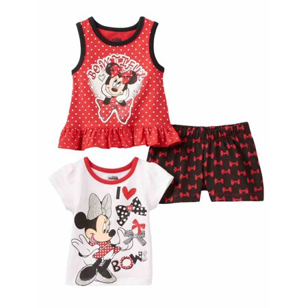 Disney Infant Girls Minnie Mouse 3 Pc Bowtiful Shirt   Shorts Outfit 12 Months