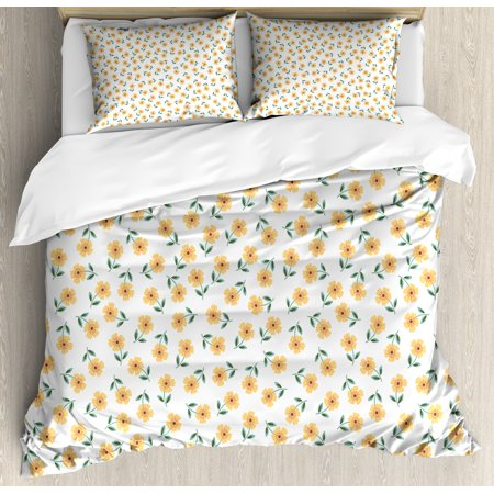 Garden Duvet Cover Set Queen Size, Floral Field Amaryllis Daffodil Blossom Romantic Artsy Design, Decorative 3 Piece Bedding Set with 2 Pillow Shams, Hunter Green Mustard Almond Green, by Ambesonne