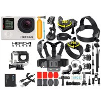 GoPro Hero 4 Silver Edition Action Camcorder With Touchscreen + 40-in-1 GoPro Action Camera Accessories Kit