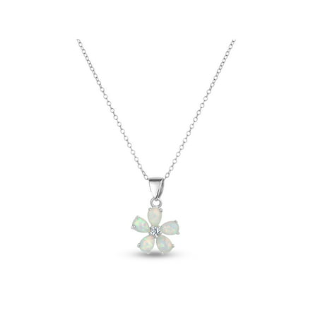 Created Opal and White Sapphire Sterling Silver Flower Pendant, 18