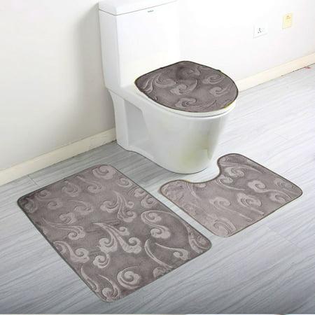 3 Piece Bathroom Rug Set Luxury Soft Microfiber Bath Mat Countour Toilet Seat Lid Cover