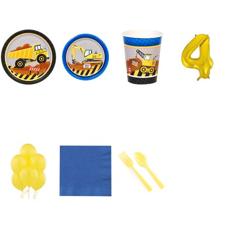 Construction Party Supplies Party Pack For 16 With Gold #4 Balloon](Construction Theme Party Supplies)