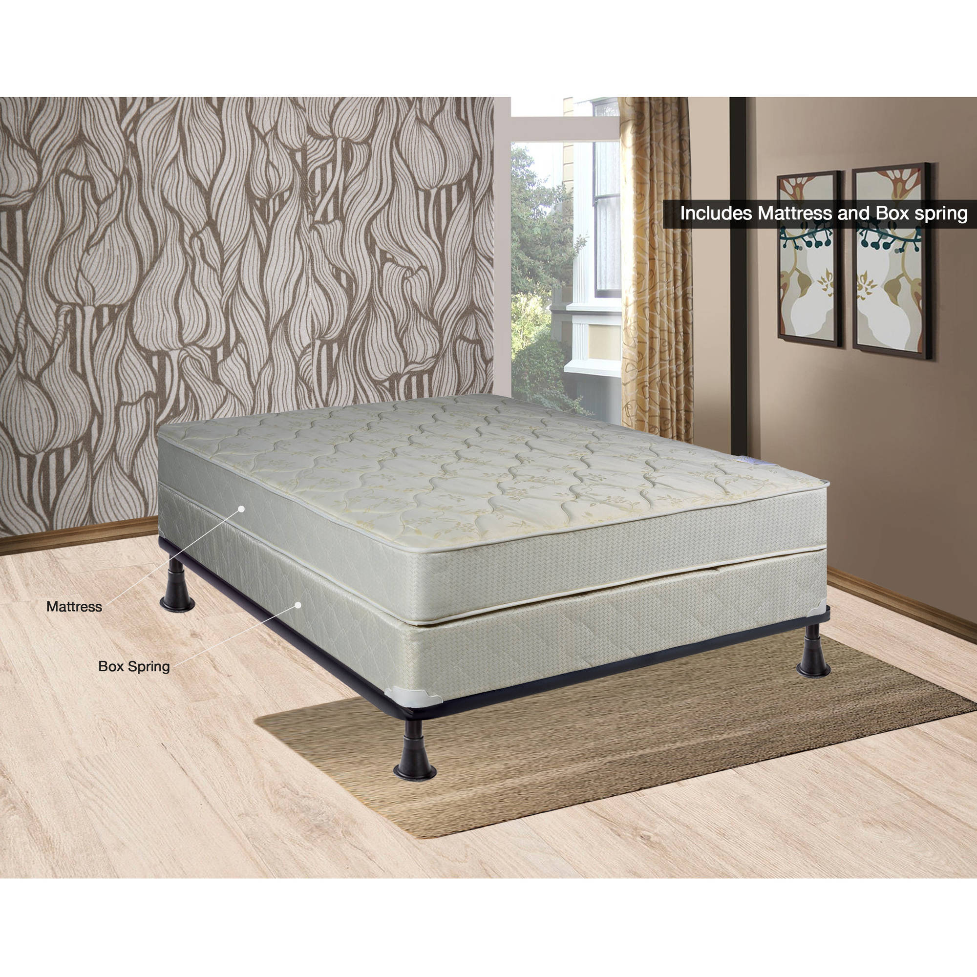 "Continental Sleep 8"" Fully Assembled Orthopedic Mattress and Box Spring, Multiple Sizes"