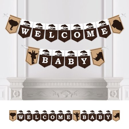 Wild Safari - African Jungle Adventure Baby Shower Bunting Banner - Party Decorations - Welcome Baby