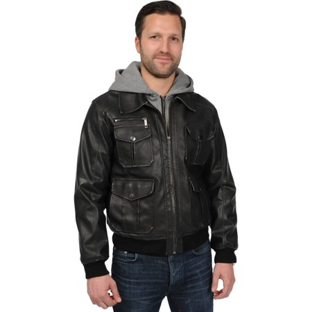 excelled men's big and tall faux leather hooded bomber jacket, black, 4x