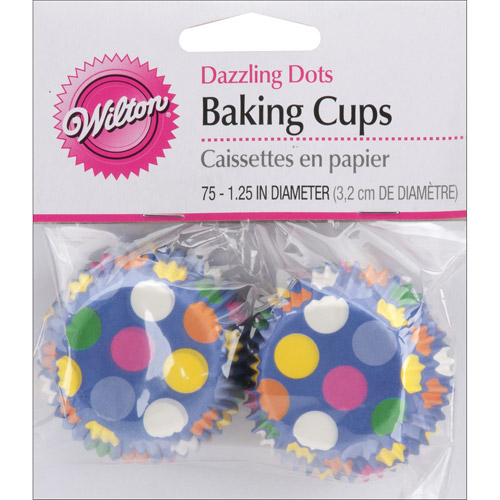 Wilton Mini Baking Cup Liner, Dazzling Dots 75 ct. 415-1141