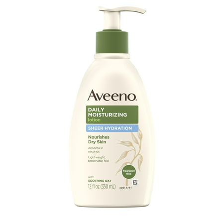 Aveeno Sheer Hydration Daily Moisturizing Dry Skin Lotion, 12 fl. oz (Best Lotion Dry Itchy Skin)