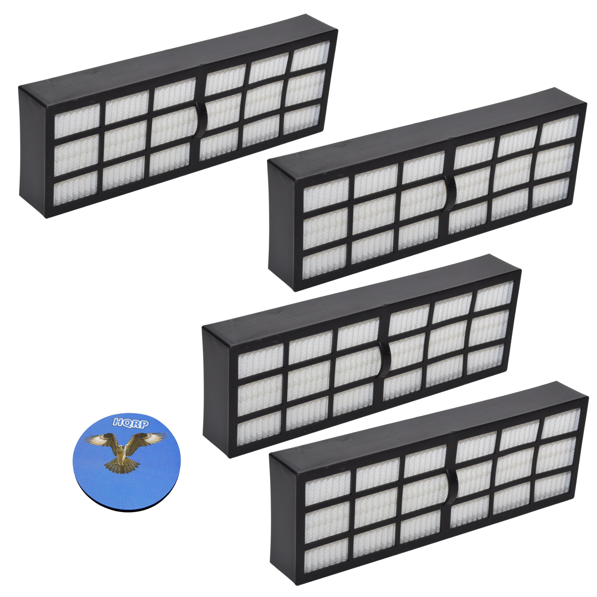 HQRP Filter 4-Pack for Eureka Surface Max 200 2977AV Upright, SurfaceMax 300 2976AVZ Vac Vacuum Cleaner + HQRP Coaster