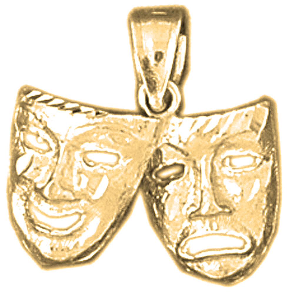 10k Yellow Gold Drama Mask Laugh Now Cry Later Pendant 18 Mm