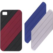 Ventev VersaDUO Snap-On Case for Apple iPhone 4 (Black Shell with Royal Blue, Dark Red, and Silver Inlay Pieces)