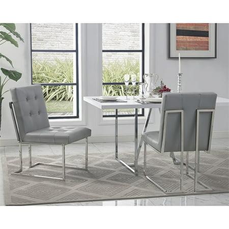 Strange Evan Grey Pu Leather Dining Chair Set Of 2 Armless Chrome Frame Beatyapartments Chair Design Images Beatyapartmentscom