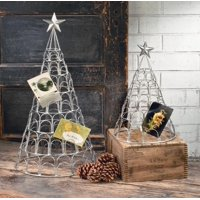 """Set of 2 Silver and Gray Christmas Tree Greeting Card Holders 28.25"""""""