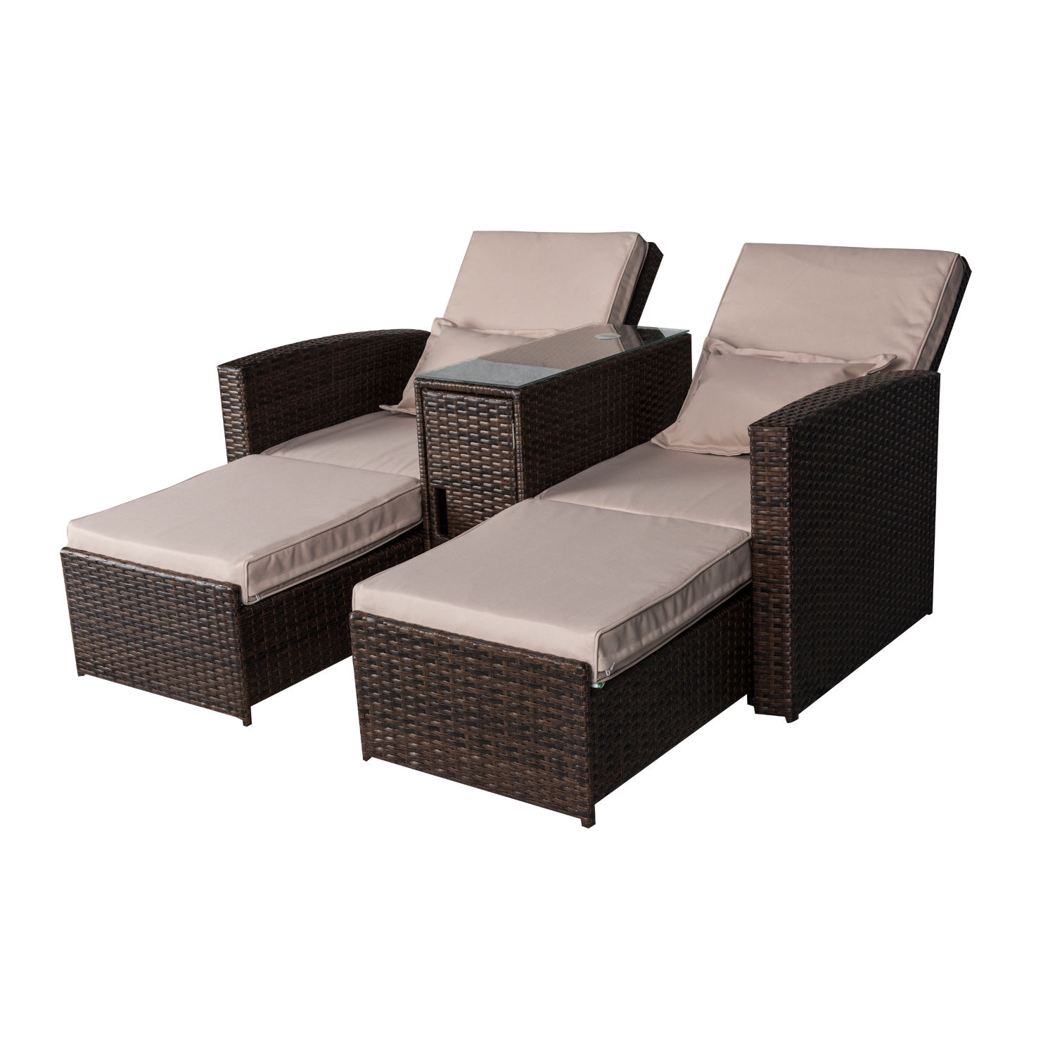 Outsunny 3-Piece Outdoor Rattan Wicker Chaise Lounge Furniture Set by Aosom