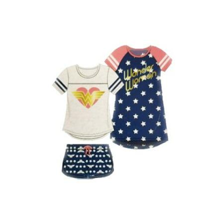 Komar Kids Girls 3-Piece Sleepwear Set Wonder Woman
