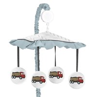 Construction Truck Baby Boy Musical Crib Mobile - Yellow Red and Blue Transportation Chevron Arrow Nursery by Sweet Jojo Designs