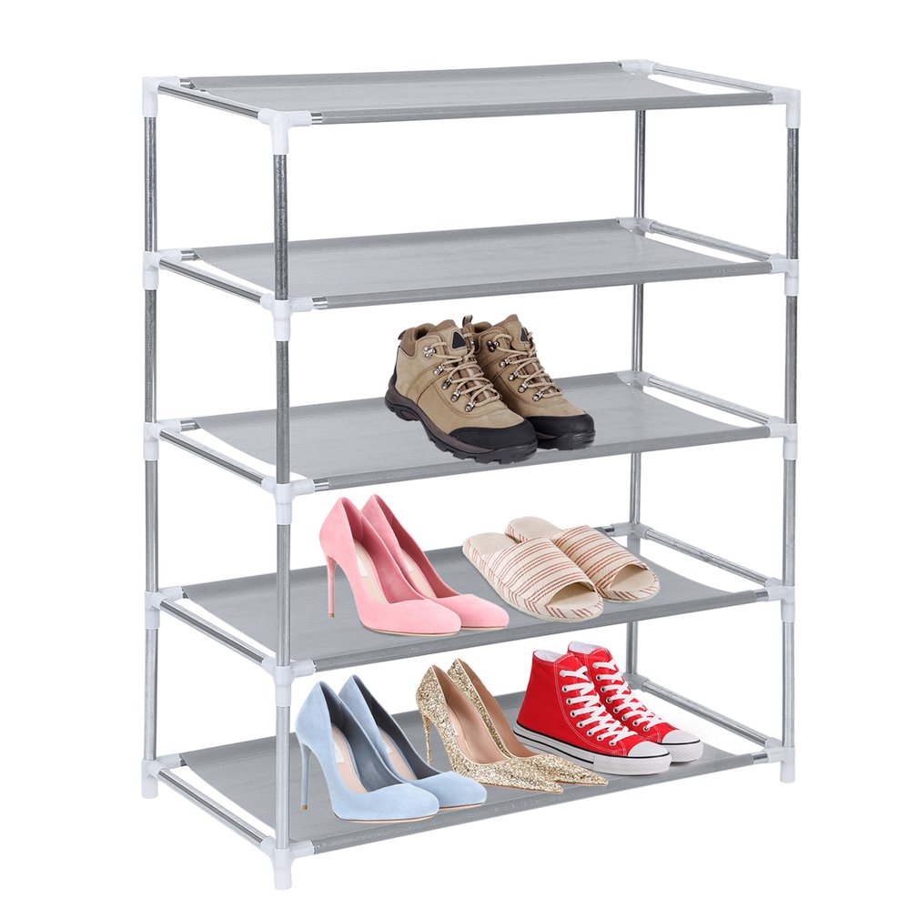 Metal Shoes Rack 5 Layer Shoes Stand Removable Dust-Shelves Storage Organizer Fabric Shelf Holder Stackable Closet