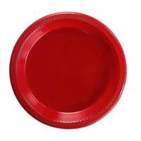 "Exquisite 10"" Disposable Plastic Plates - 50 Count Party Pack Plates - Premium Plastic Disposable Lunch & Dinner Plates, Red"