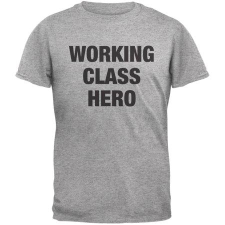 Working Class Hero Inspired By John Lennon Heather Grey Adult T-Shirt ()